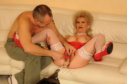Busty old granny anal fucked by various dildos