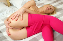 Blond flexible gal anal fingering in pink lingerie