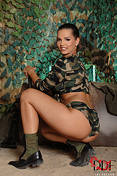 Eve Angel masturbating at army camp