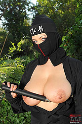 Busty ninja Shione Cooper outdoors