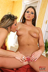 Hot lesbian threesome with strap-on