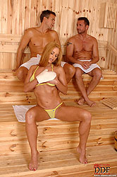 Cathy fucks 2 guys in the sauna