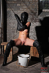 Bound babe Janette peeing in bucket
