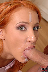 She gets semen all over her face!