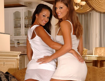 Babes in white posing and dildoing each other