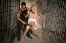Pretty blonde girl handcuffed and became sextoy