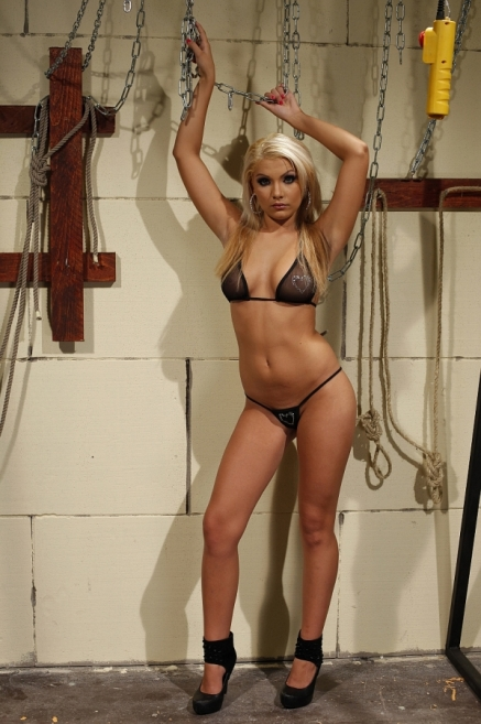 Blonde BDSM-doll spanked clipped and anal fucked