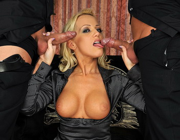 Busty blonde enjoys 2 young cock at the same time