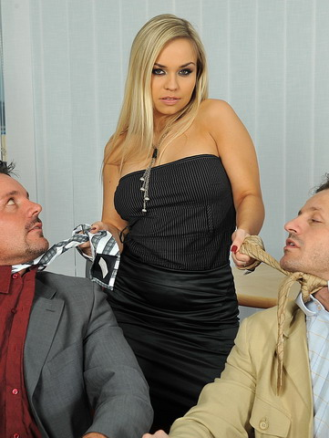 Blonde assistan Mia got fucked by her 2 managers