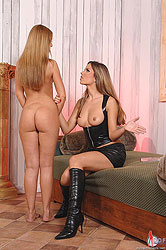 Young horny girls tie up each other