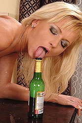 Hot babes use bottles for pleasure