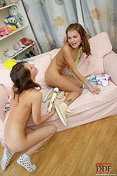 Hot lesbian teens playing with toys