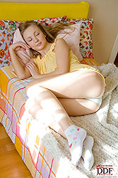 Sweet teen Alice toying in morning
