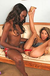 Interracial lesbians toy fucking
