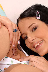 Cute lesbians toy banging to climax