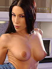 Exotic Mya toying a monster dildo in the kitchen