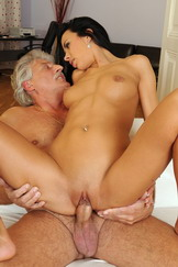 Horny brunette fucking with an old grandfather