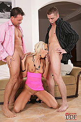 Two guys fucking slim slut Deniska