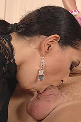 Two hot brunettes in threesome sex