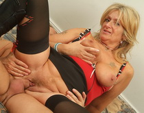 Blonde mature in black lingerie gets cum on h face