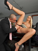 Started sucking on her boss cock then sat on it