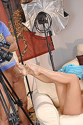 Hot babe Barbie Night doing footjob
