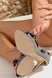 Hot blonde Zuzana showing her feet
