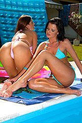 Two hot lesbians licking their feet