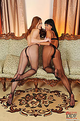 Lesbian pantyhose sex of hot babes