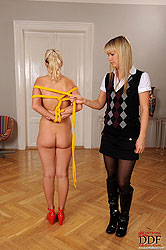 Blonde Cindy White gets bound tight