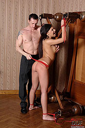 Young bound babe Henessy spanked