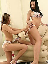 Sexy teen lesbians are anal toying