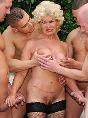 A very nice mature oral gangbang and bukkake party