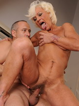 Hairy granny gets anal fucked than farting cum