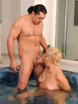 Hot hairy mature Leila fucked in the relaxin pool