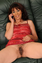 Hairy mom calling her young lover for quick sex