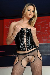 Blonde babe Chloe is dildoing herself in stockings