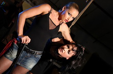Mistress breaking in new victim with wax and clips