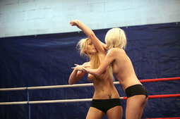 Lesbian fighters Antonya n Blanche boxing in a ring