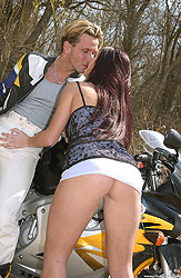 Sexy biker chick Vanessa gives head