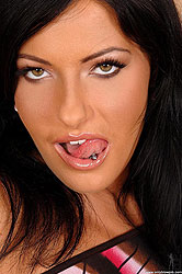 Hot brunette throat banged by stud