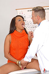 A latina sucking her doctor`s dick