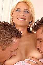 Hot blonde taking care of two cocks