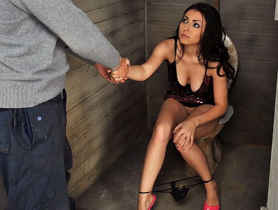 Brunette gets fucked in a filthy public toilette