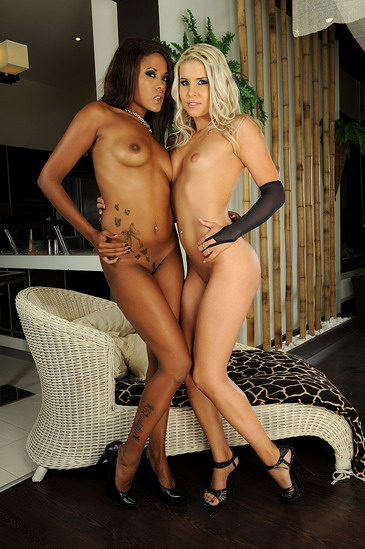 A black and a blonde girl are dildoing each others