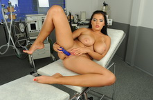 Very big titted Jasmyne is dildoing her asshole