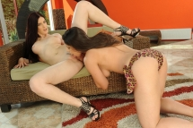 Hot babes Zafira and Mira are dildoing and licking