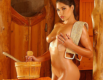Nice titted Zafira fingering deeply by the sauna