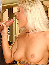 Blonde Kathy tasting sperm and a cock in her anus