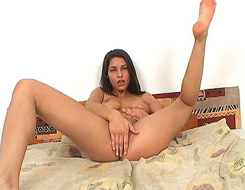 Nice titted Zafira showing her wide open pussy